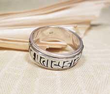 Drehbar - Spinning Ring - 925er Silber - Tibet Mantra Om Mani Padme Hum