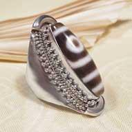 Tibetischer DZI RING - Karma Arts - 925er Sterling Silber - NEPAL