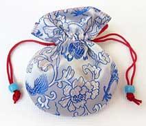 Schmuckbeutel aus Brokat - Tibet Style - weiss blau