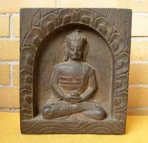 BUDDHA Amitabha im Holzschrein - handgeschnizt - Bild - Nepal