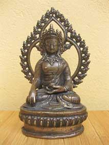 BUDDHA Shakyamuni Gautama im Feuerkranz - Bronze Statue - Nepal