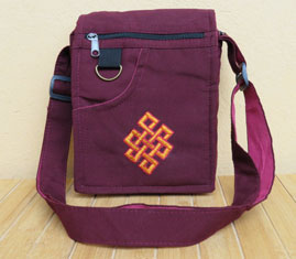 Tibetische Schulter-Tasche - gestickter Endloser Knoten - Umhängetasche - Nepal