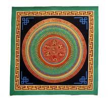 Thangka Mandala - Mantra OM-AH-HUNG - Mäander - handgemalt - Nepal - Tibet