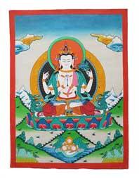 Thangka Buddha Avalokiteshvara Chenrezig - handgemalt - Nepal