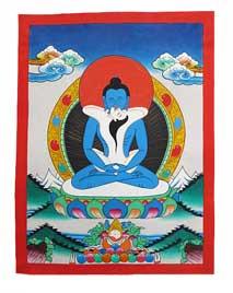 Thangka Adi-Buddha - Samantabhadra  Yab-Yum - handgemalt - Nepal