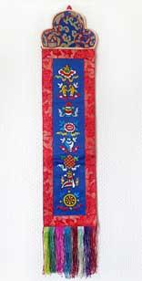 Wandbehang - 8 Tibetische Glückssymbolen - roter Brokat - Nepal